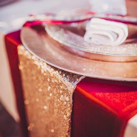 chemin de table sequin rose gold décoration table anniversaire