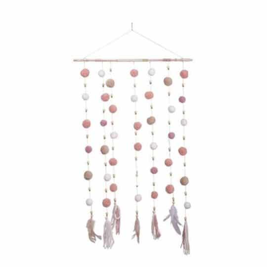 Suspension La Distinguée rose poudré décoration chambre fete fille champetre boheme