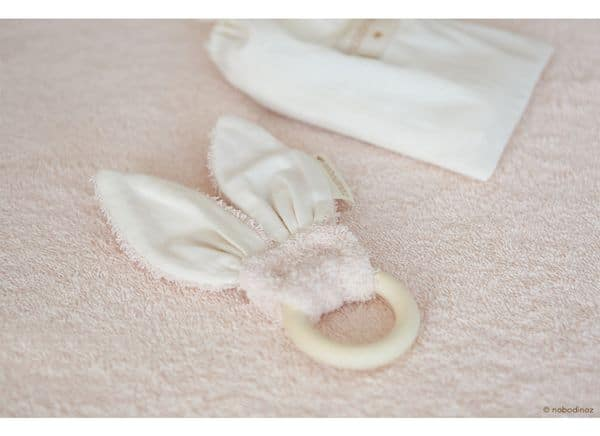 Anneau de dentition Bunny rose Nobodinoz coton bio