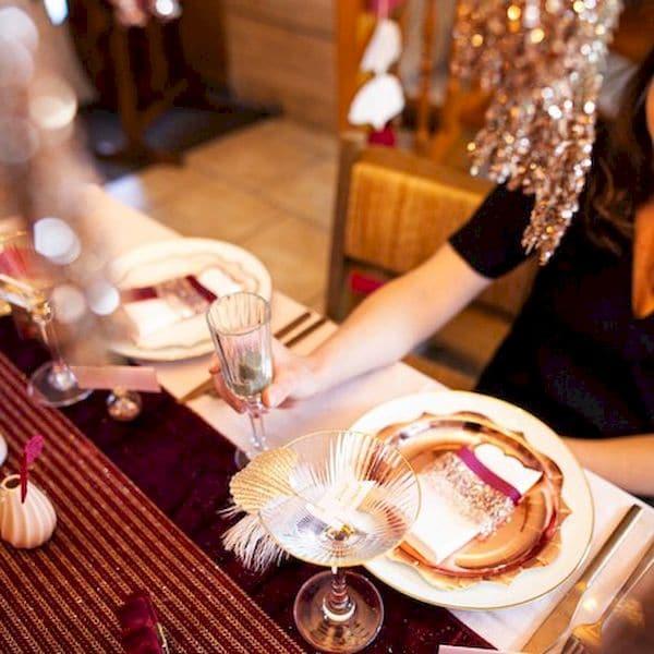 assiettes rose gold métallisé décorations de fête anniversaire et noël