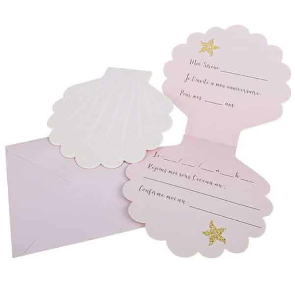 Carte d'invitation fête anniversaire coquillage thème sirène