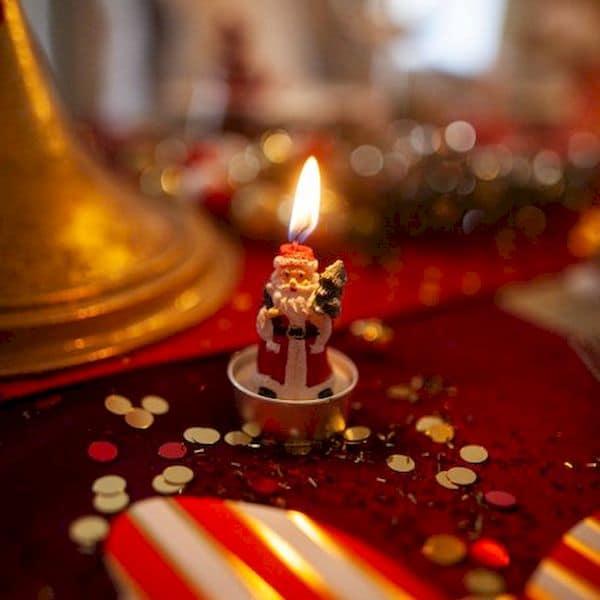 bougies père noël blanc rouge et vert