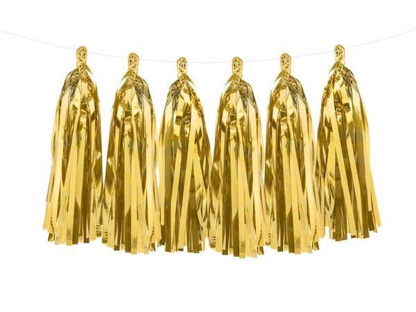 Guirlande de pompons gold décoration de fête doré