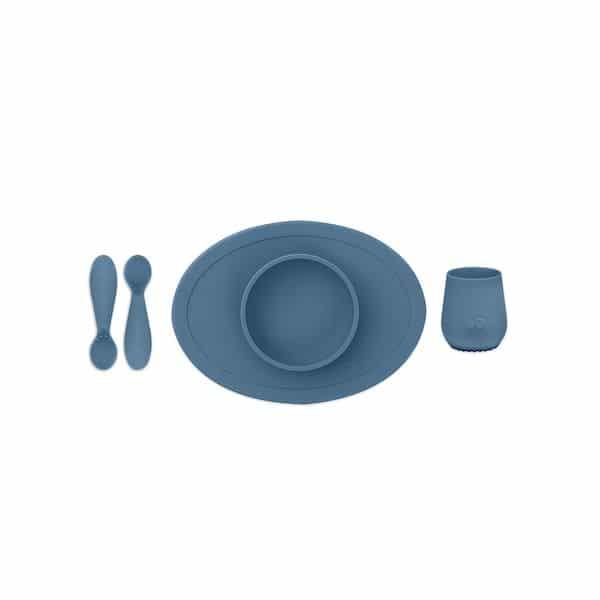 coffret repas ezpz indigo 1er repas silicone bol couvert gobelet