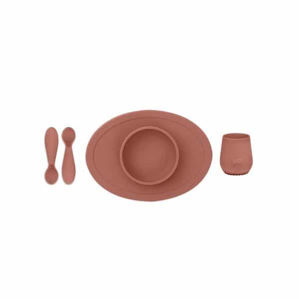 coffret repas ezpz terre de sienne 1er repas silicone bol couvert gobelet