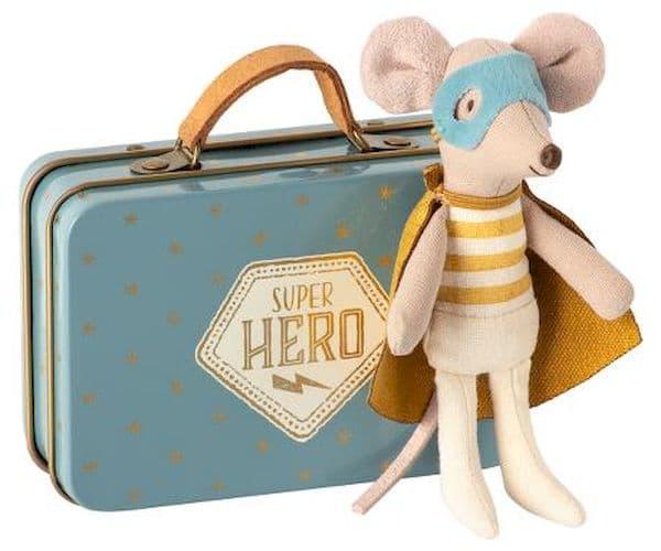 souris super héros valise maileg