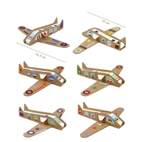 Kit loisir créatif - Mes avions pirouette cacahuete atélier créatif activité enfant carton recyclé