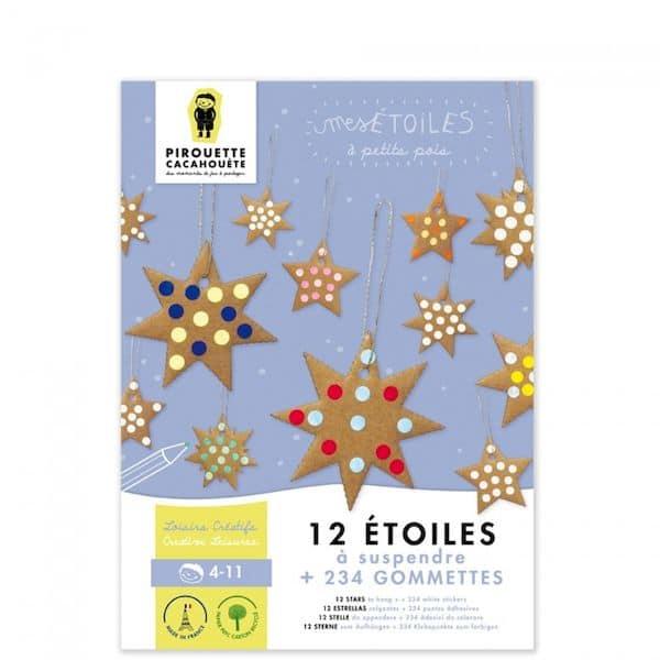 Kit loisir créatif - mes étoiles pirouette cacahuete atelier enfant noel carton recyclé