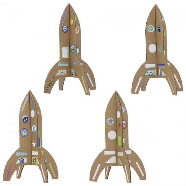 Kit Loisir créatif - mes Fusées pirouette cacahouète carton recyclé