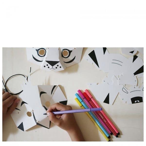 Kit loisir créatif - 4 masques animaux de la Jungle pirouette cacahouete carton recyclé