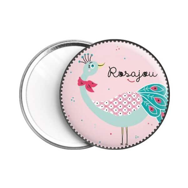 miroir de poche paon rosajou accessoire maquillage enfant