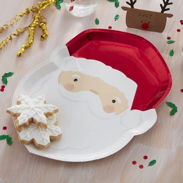 assiettes père noël blanc et rouge