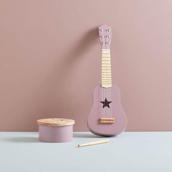 guitare enfant lilas en bois kids concept jouet en bois musique