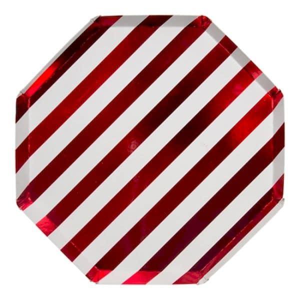 assiettes rayures rouges métalliques noël décoration de table