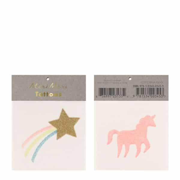 planches de tatouage licorne étoiles filantes FILLE