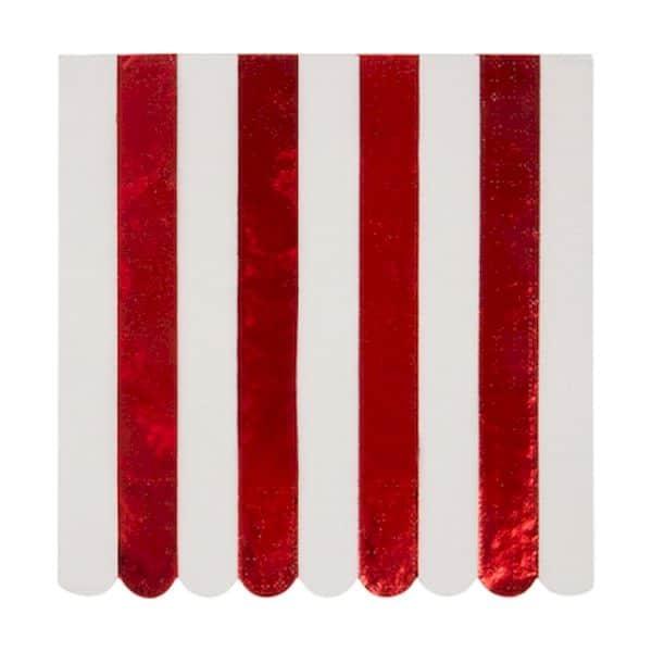serviettes rayées blanc et rouge métalliques décoration de table de noël