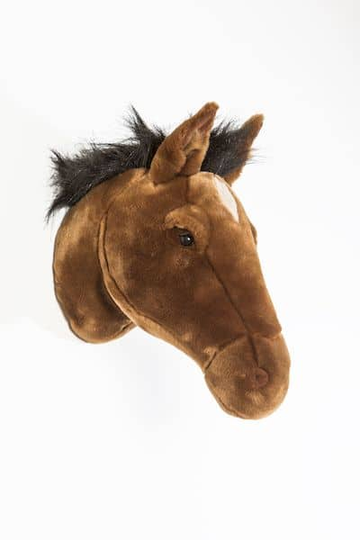 cheval brun scarlett wild and soft trophée peluche animal décoration enfant