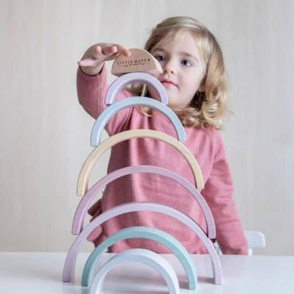 Arc-en-ciel en bois à empiler Rose - Little Dutch jouet en bois fille 1 2 ans