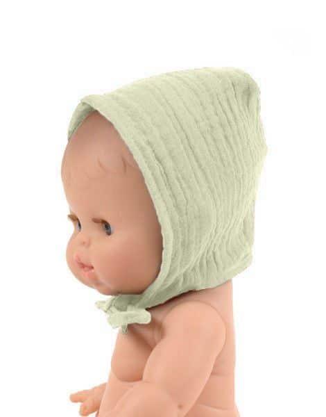Béguin rond coton double gaze Pistache - Minikane accessoire tenue poupée minikane