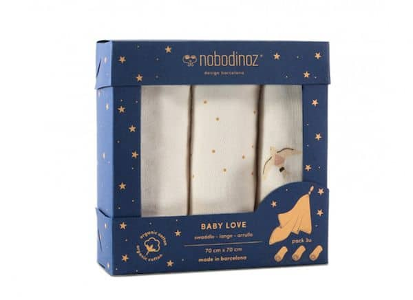 Lot de 3 langes Baby Love Haiku Birds - Nobodinoz cadeau de naissance tendance
