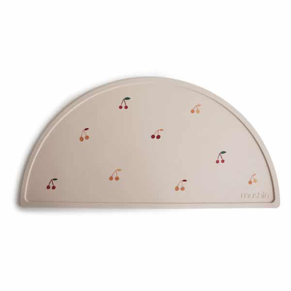 Set de table Cerises Beige - Mushie silicone repas bébé cadeau naissance 1 an