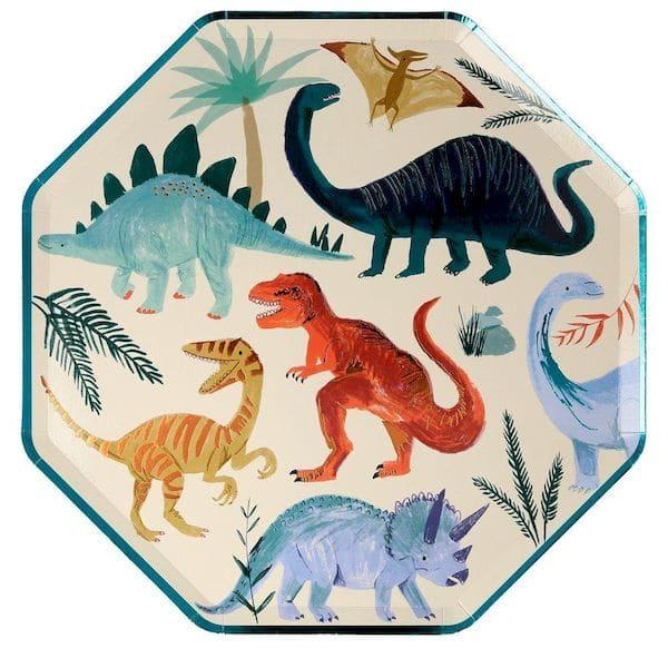 8 grandes assiettes Royaume des Dinosaures - Meri Meri anniversaire dinosaure tendance