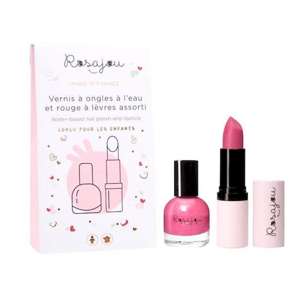 duo rubis vernis baume rouge à lèvres rose français bio maquillage enfant