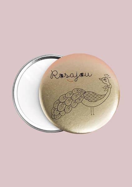 Miroir de poche doré Paon - Rosajou maquillage enfant
