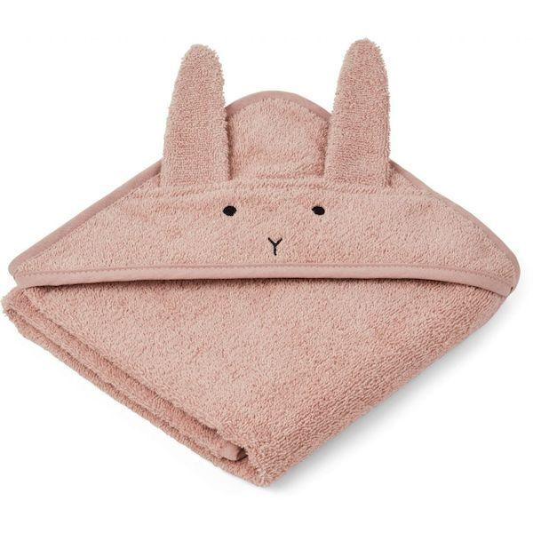 cape de bain albert lapin rose liewood cadeau naissance bébé coton bio