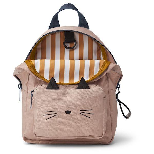 sac à dos mini saxo chat rose liewood polyester recyclé cadeau de naissance