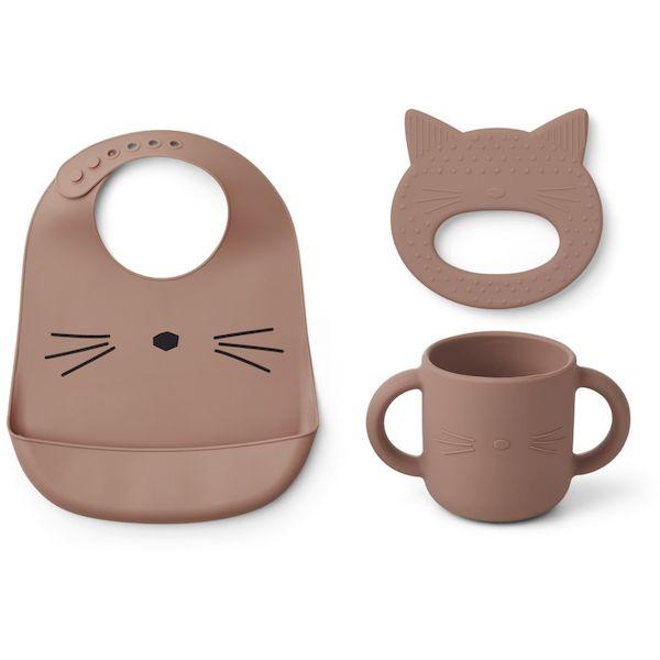 coffret 3 pièces carol chat rose premiers repas anneau de dentition cadeau de naissance silicone