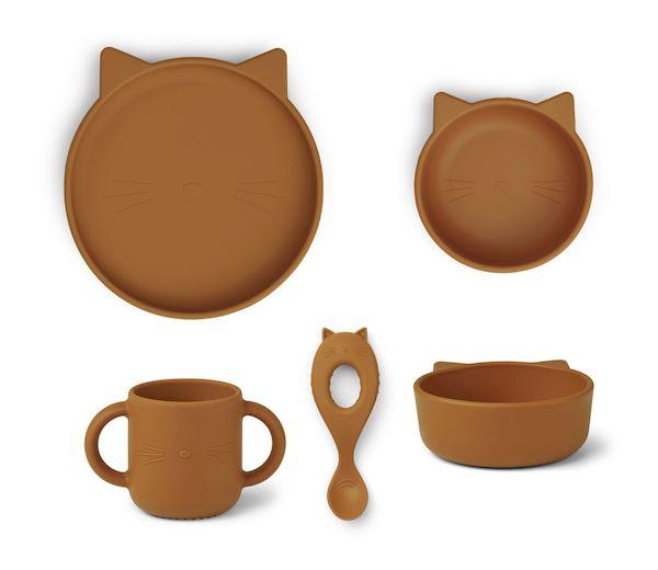 set de repas en silicone chat moutarde liewood premier repas cadeau de naissance