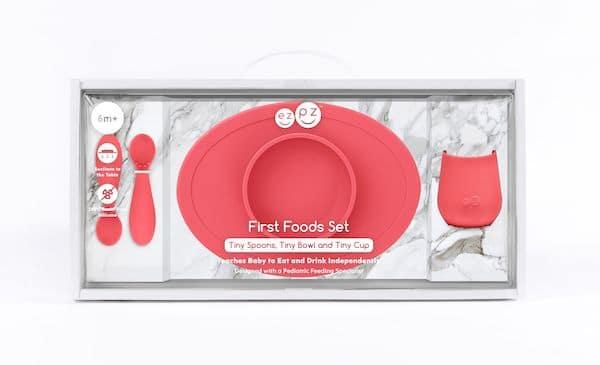 Coffret premier repas Silicone Corail - EZPZ idée cadeau de naissance