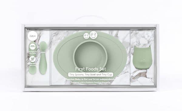 Coffret premier repas Silicone Vert Amande - EZPZ idée cadeau bébé utile