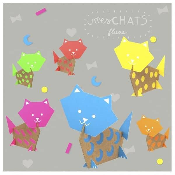 kit loisir créatif mes chats fluos pirouette cacahouète fabriqué en France papier recyclé