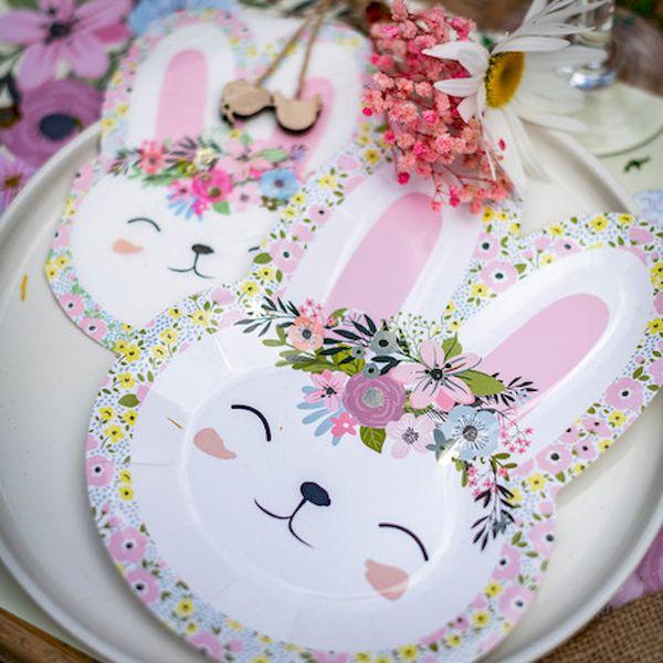 Assiettes Serviettes Lapinou Pâques Liberty x12 - 23x32cm - Arty fêtes décoration paques enfant