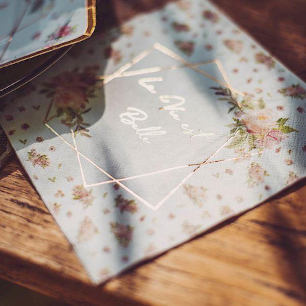 Serviettes Aquarelle La vie est belle x16 - Arty fêtes factory décoration fête liberty fleurs