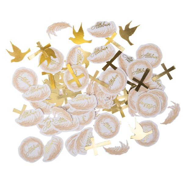 Confettis Baptême jolie Pampa blanc et or x100 - Arty fêtes factory décoration baptème nature