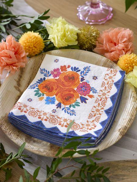 serviettes boho floral spice fleurs orange décoration de table