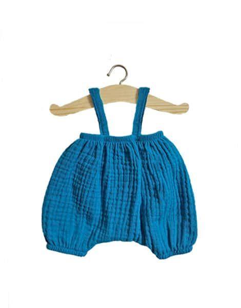 Bloomer Kim en coton double gaze Bleu canard - Minikane tenue vêtement poupon poupée minikane