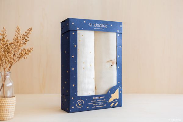 Lot de 2 langes Butterfly 100x120 cm - Haiku Birds - Nobodinoz idée cadeau de naissance bébé coton bio