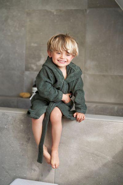 Peignoir de bain lilly panda vert kaki coton bio enfant liewood