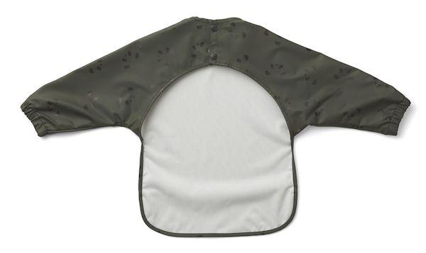 bavoir à manches merle panda vert kaki premier repas cadeau de naissance bébé polyester recyclé
