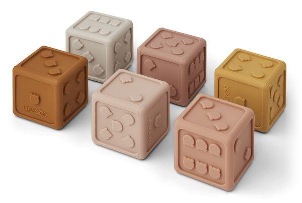 lot de 6 dés gloria en silicone liewood jouet ludique écologique tendance