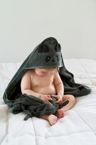 Cape de bain Albert Panda vert kaki- Liewood cadeau de naissance bébé coton bio éponge