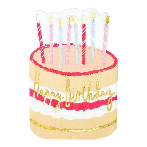 Serviettes gâteau d'anniversaire happy birthday or bougies décoration de fête