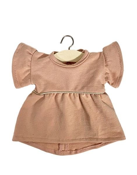 Robe Daisy en coton sweat Rose nude - Minikane tenue vêtement poupée minikane