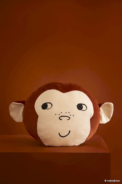 Coussin Monkey - Wild Brown - Nobodinoz coussin singe décoration chambre jungle