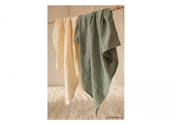 Lange Baby Love Eden Green - Nobodinoz coton bio idée cadeau de naissance tendance