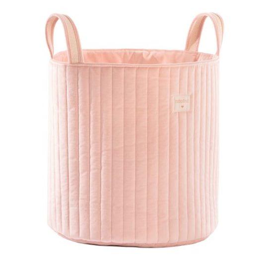 Sac à Jouets Savanna en velours - Bloom Pink - Nobodinoz sac à linge / Jouets velours rose